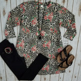 Sleepless in Seattle Floral Leopard Top - Also in Plus Size
