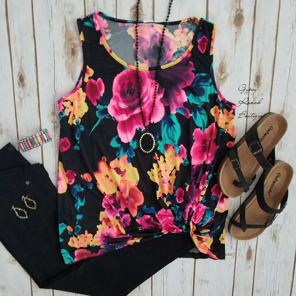 Kalisa Floral Knotted Tank Top