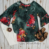 Ansley Floral Leopard Top - Also in Plus Size