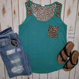 Waco Leopard Turquoise Tank Top - Also in Plus Size
