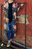 Hayze Leopard Floral Duster Cardigan - Also in Plus Size