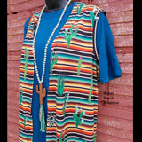Walking West Serape Cactus Vest - Also in Plus Size