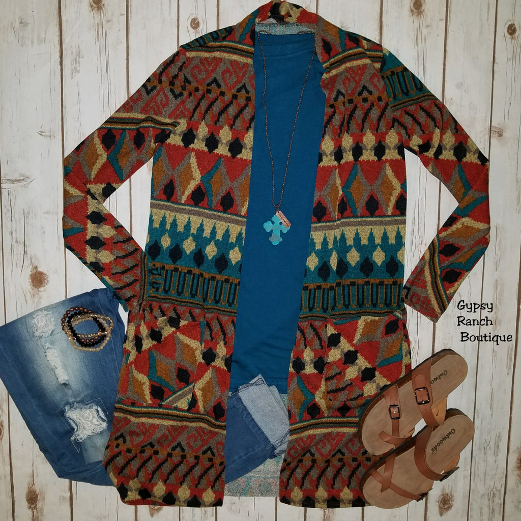 Navasota Tribal Cardigan - Also in Plus Size