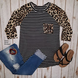 Jaylie Leopard & Stripe Long Sleeve Top - Also in Plus Size