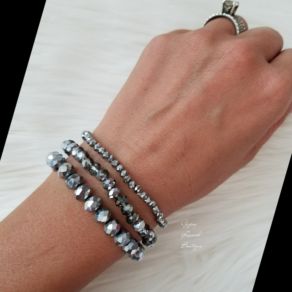 Set of Three Silver Irradescent Bracelets