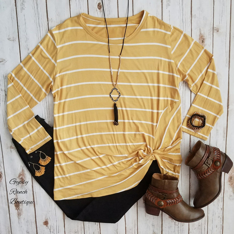 Capitan Mustard Stripe Knotted Top - Also in Plus Size