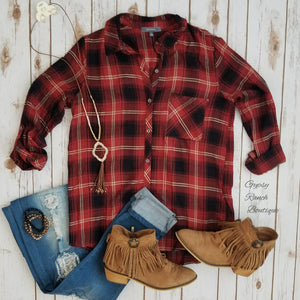 Rust you Ask Plaid Flannel Top