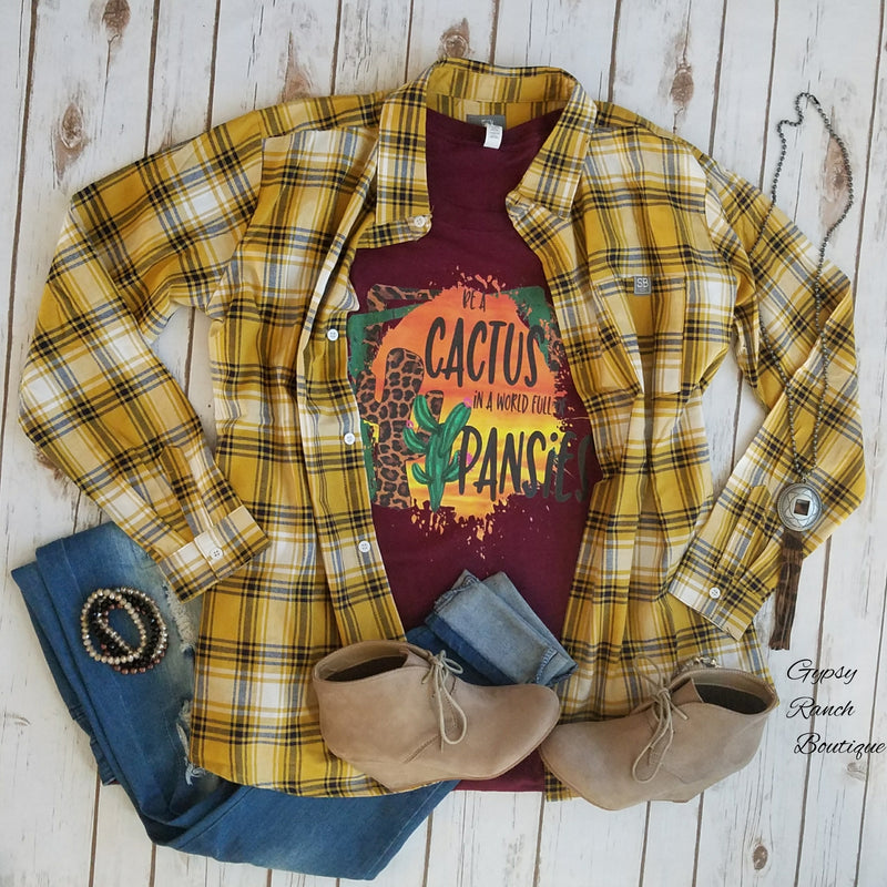 Springfield Mustard Plaid Flannel Top - Also in Plus Size