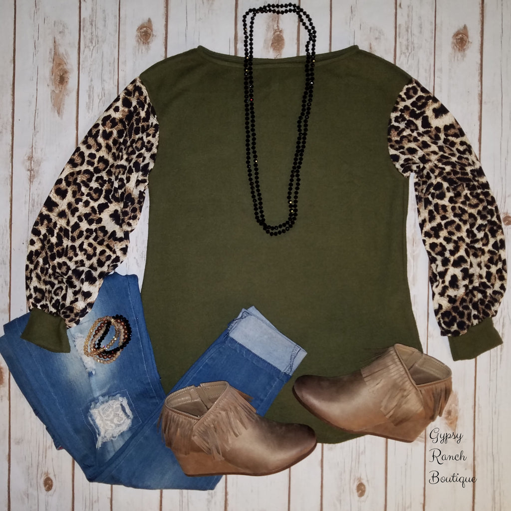 New York Olive Leopard Bubble Sleeve Top - Also in Plus Size