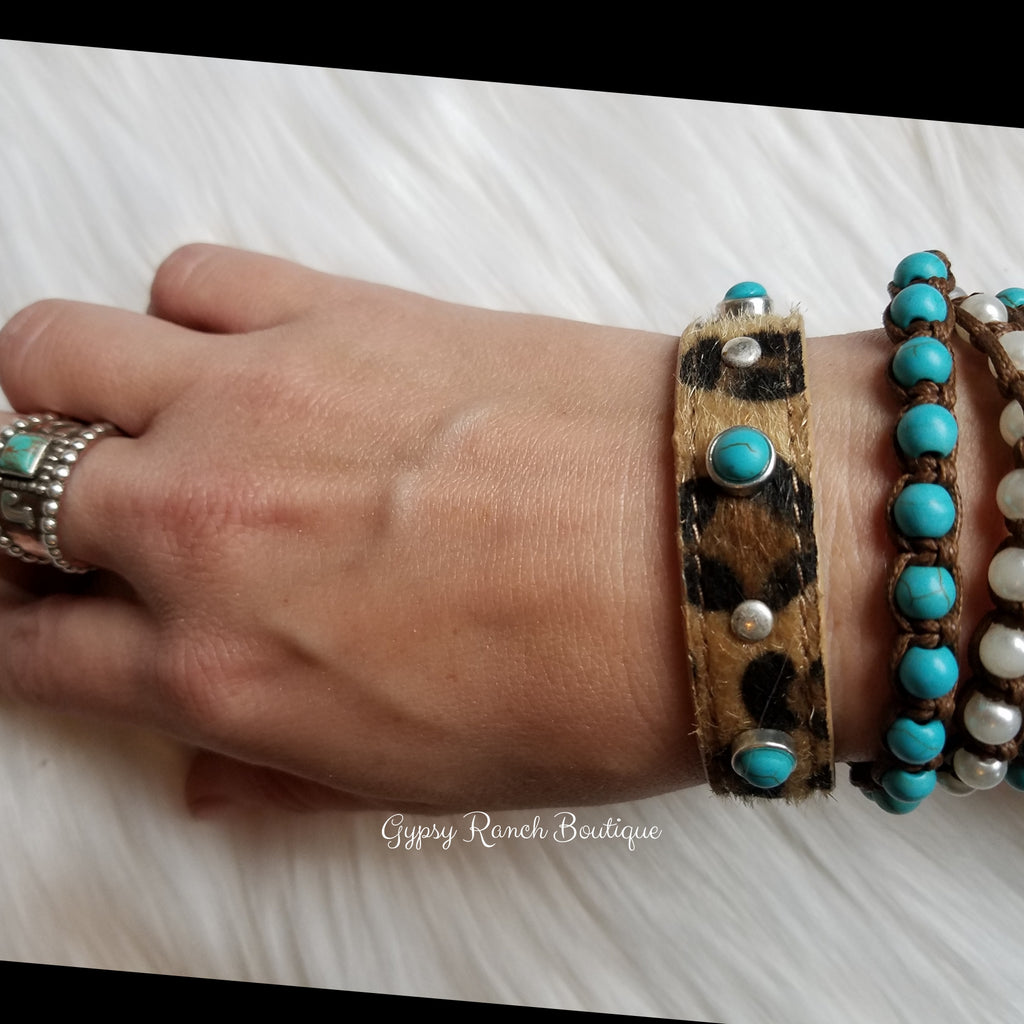 Ryken Turquoise Leopard Hair on Hide Bracelet