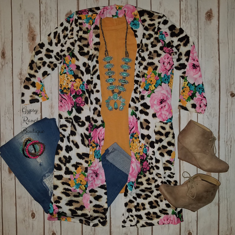 Park Valley Leopard Floral 3/4 sleeve Cardigan  - Also in Plus Size