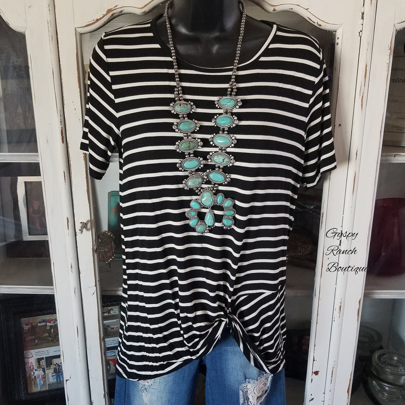 Westbound Stripe Knotted Top - Also in Plus Size