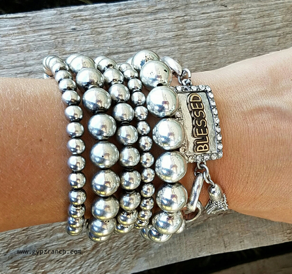 Silver River Multi Strand Stretch Bracelet