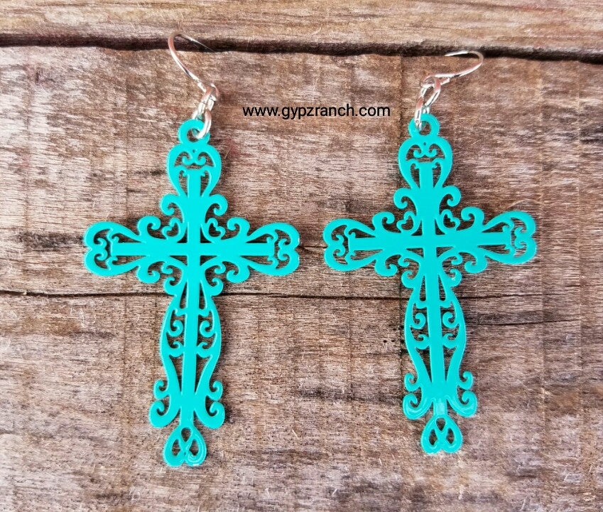 Daylight Turquoise Cross Earrings
