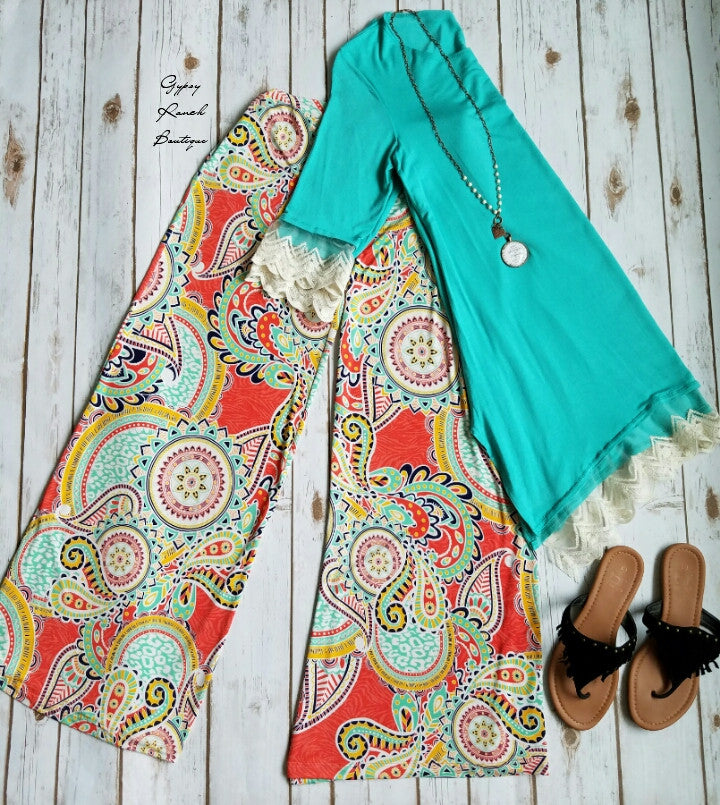 Scarlet Paisley Palazzo Pants - Also in Plus Size