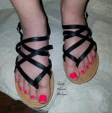 Breeley Strappy Sandals - Black or Tan