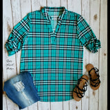 Colley Turquoise Plaid Top  - Also in Plus Size