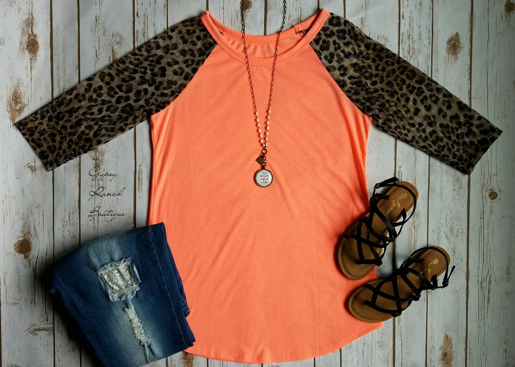 Spotlight on Me Neon Coral Leopard Top  - Also in Plus Size