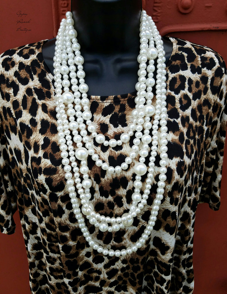 Laramie Long Pearl & Crystal Necklace Set