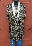 Brooks Avenue Leopard Tunic Dress-Plus Size