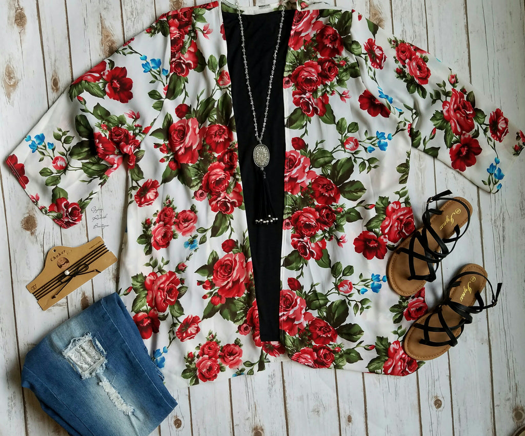 Ashton Floral Cardigan - Also in Plus Size