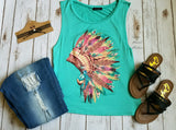 Fanning Leopard Headdress Tank Top