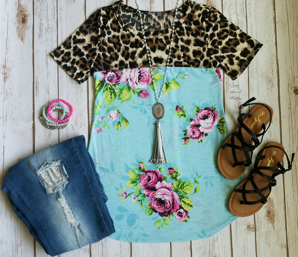 Malibu Breeze Floral & Leopard Top  - Also in Plus Size