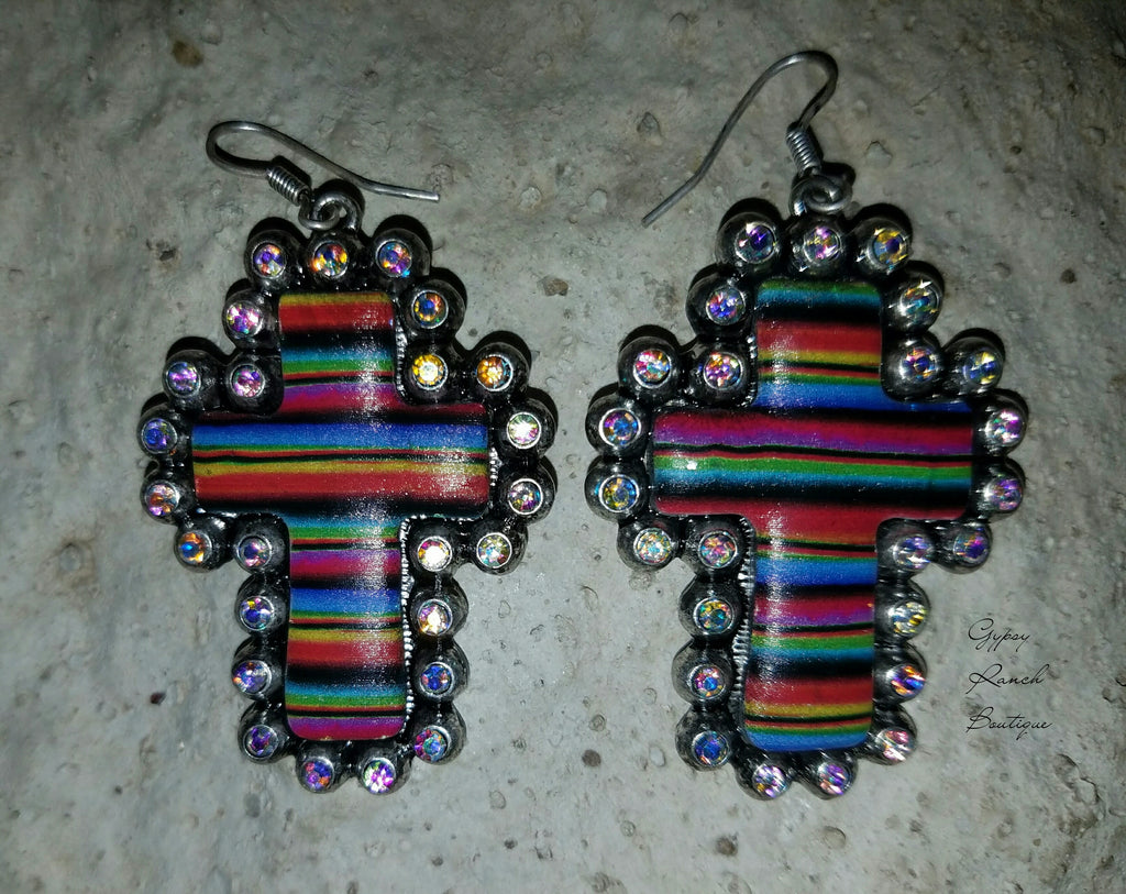 Rise Above Serape Cross Earrings