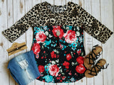 Colleyville Floral & Leopard Top - Plus Size