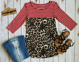 Kasidy Leopard & Red Stripe Top Also in Plus Sizes