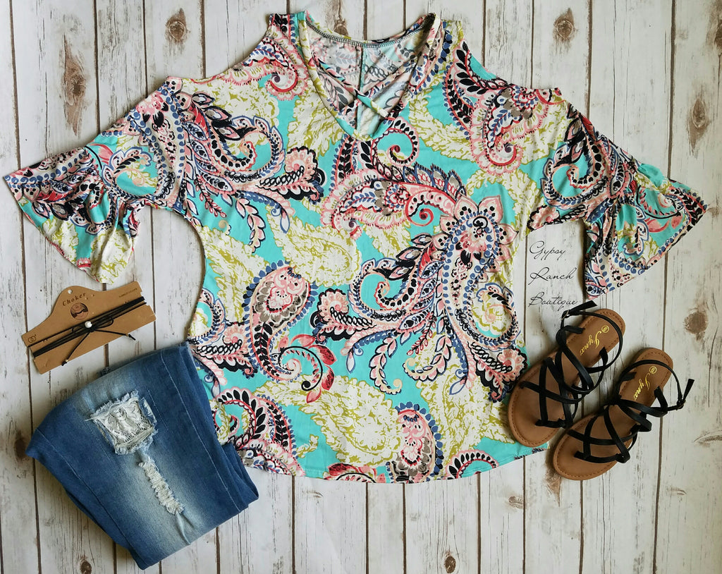Ticket to the Party Paisley Cold Shoulder - Also in Plus Size