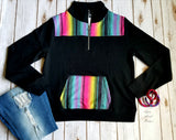 Record Year Serape Black Pullover Top - Also in Plus Size