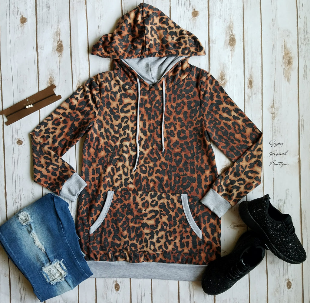 Madison Leopard Hoodie Top-Also in Plus Size