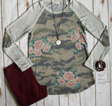 Forget Me Not Camo & Floral Top
