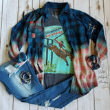 Urban Teal Distressed Flannel Top - Also in Plus Size