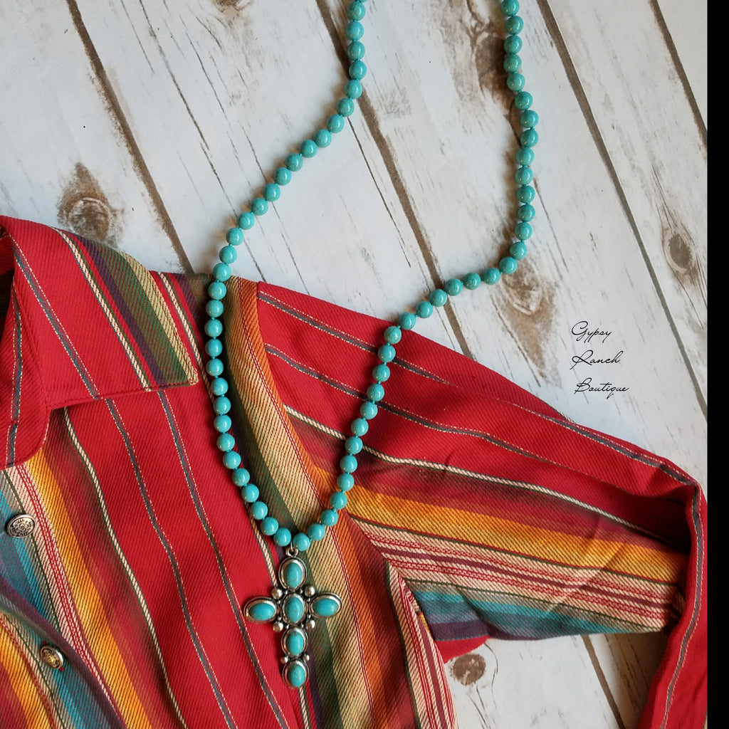 Great Grace Turquoise Cross Necklace