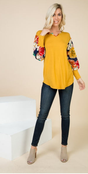 Payton Vintage Floral Bubble Sleeve Top - Also in Plus Size