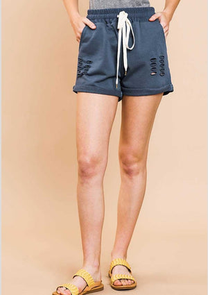 Brooke Navy Distressed Casual Shorts