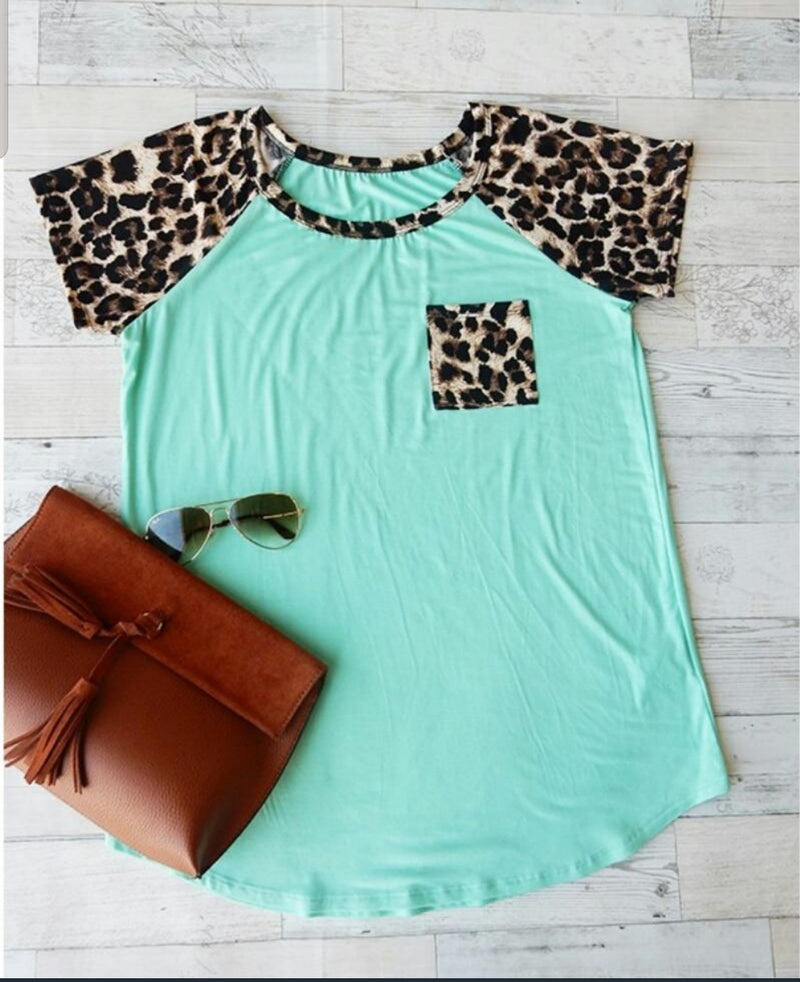 Aurora Mint Leopard Top - Also in Plus Size