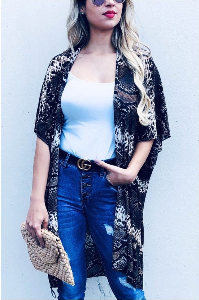 Summer Snake Print Kimono - Also in Plus Size