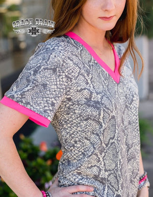Sassy in Snake Print Hot Pink Top - Also in Plus Size