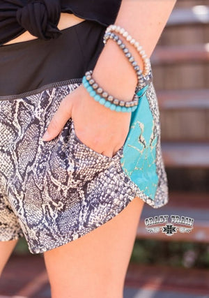 Python & Turquoise Stone Board Shorts - Also in Plus Size