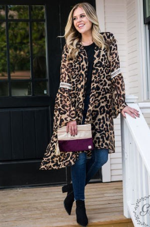 Feelin' Fierce Leopard Kimono Caridgan - Also in Plus Size