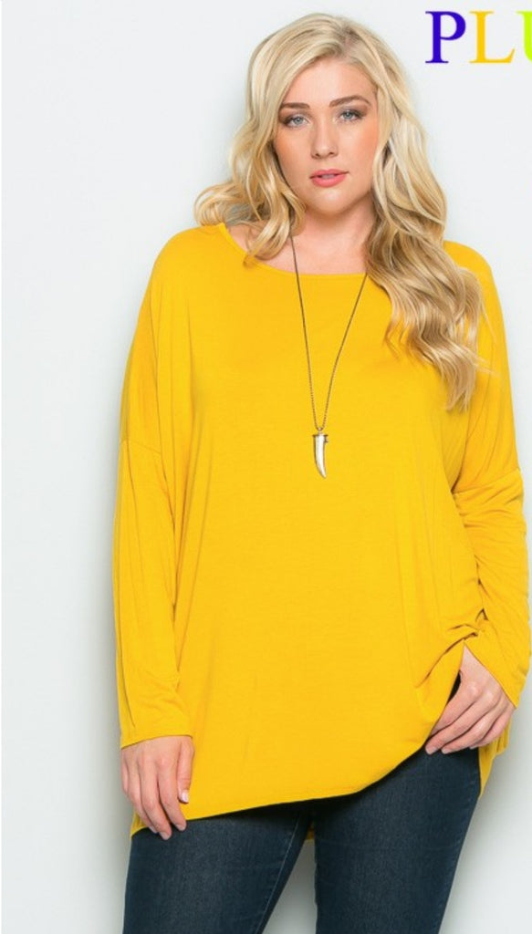 Abigail Solid Tunic Top - Also in Plus Size