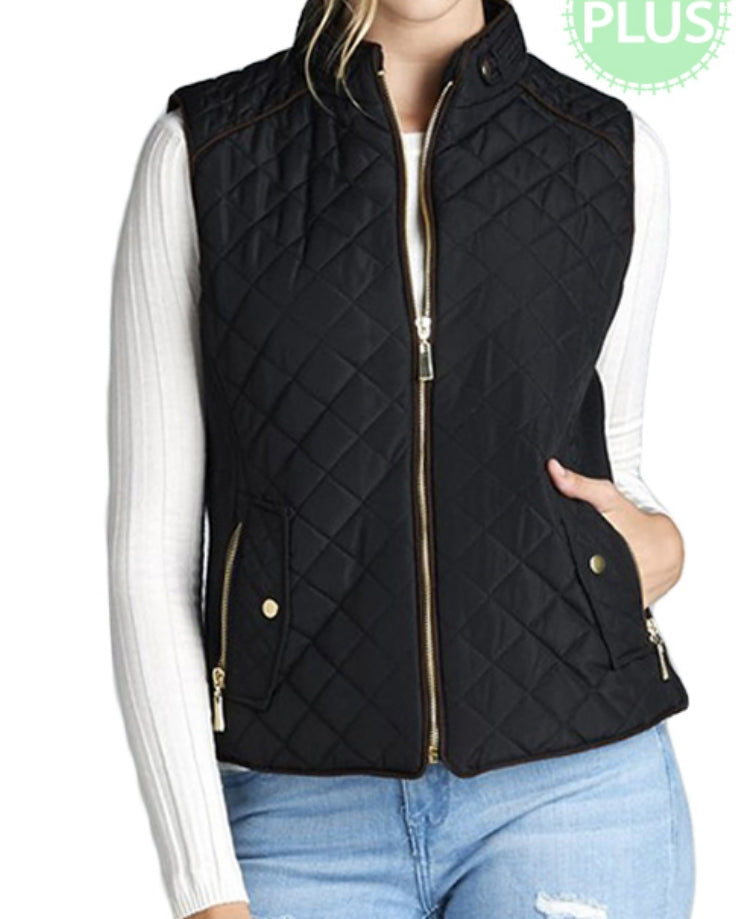Kylie Jo Quilted Vest Several Colors  - Also in Plus Size