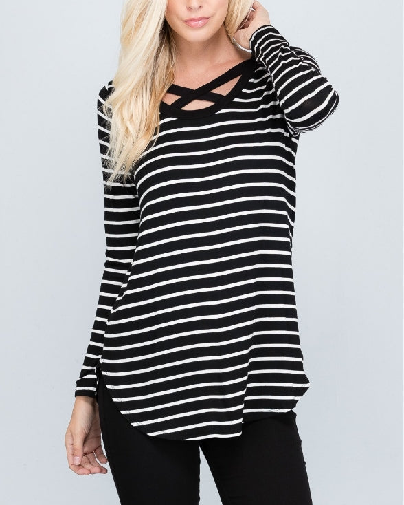 Far Away Land Stripe Top - Also in Plus Size