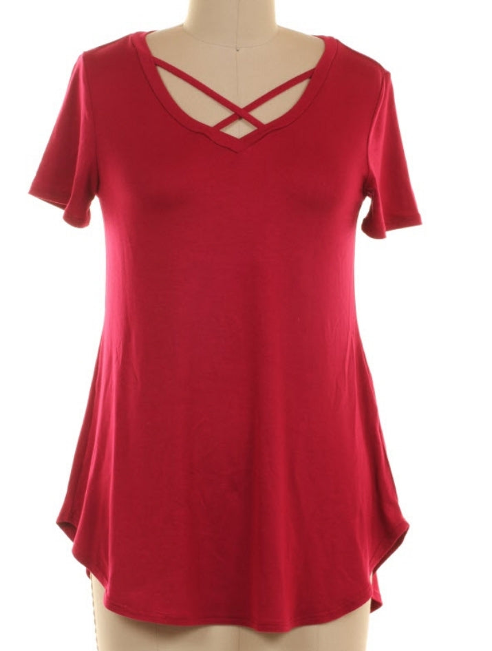 Beach Side Criss Cross Basic Top - Also in Plus Size