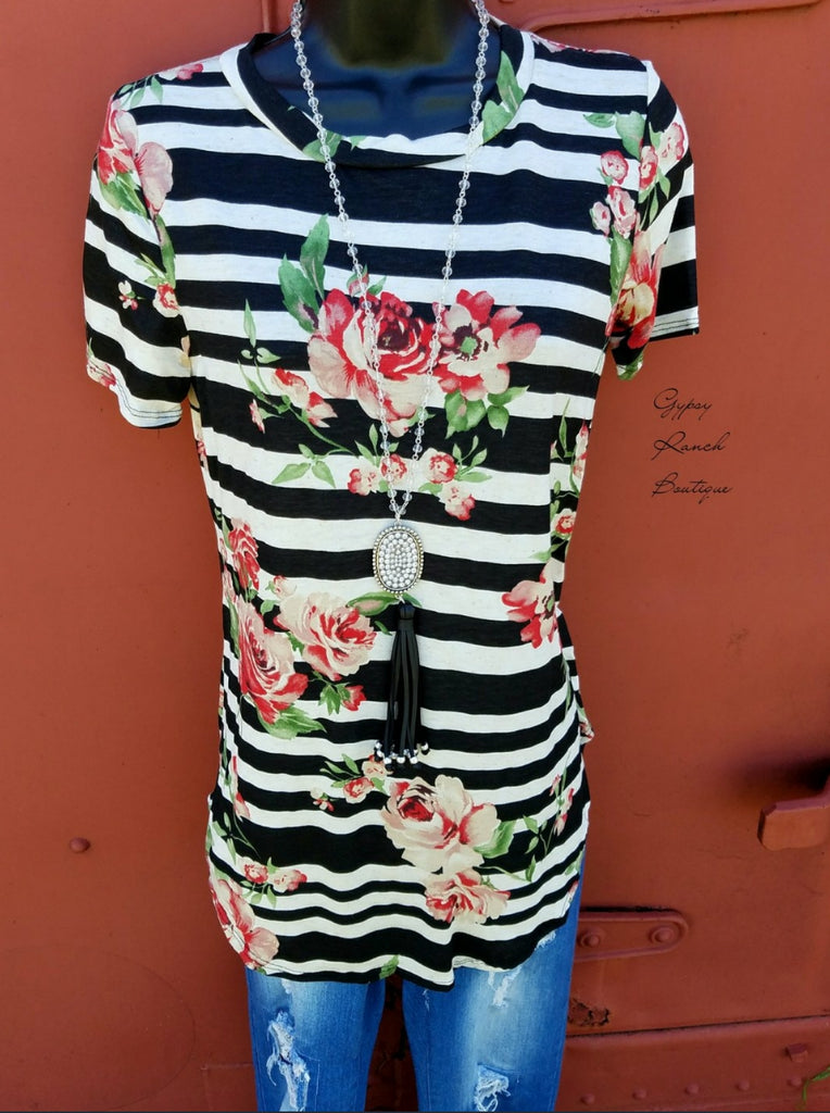 Bentley Stripe & Floral Top - Also in Plus Size