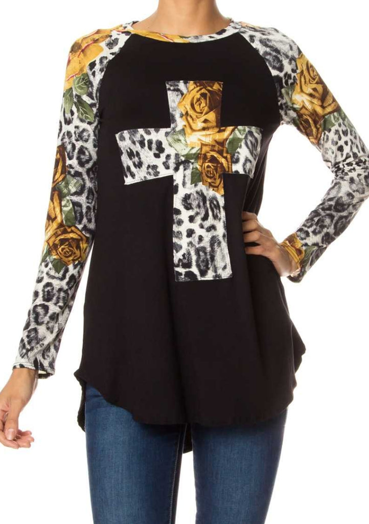 Yukon Leopard Floral Cross Top - Also in Plus Size