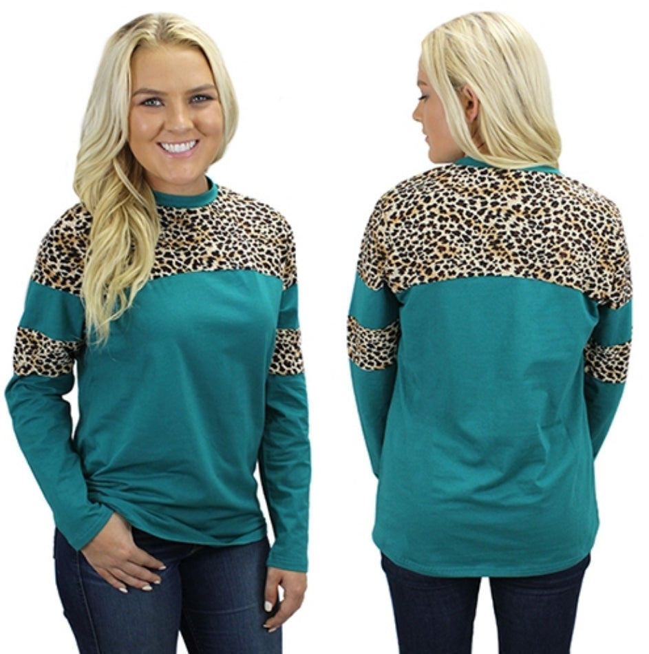 Brooklyn's Pride Turquoise & Leopard Top - Also in Plus Size